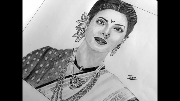 Stunning Priyanka Chopra Pencil Sketch Techniques for Beginners Portrait Sketching Of Priyanka Chopra| Bajirao Mastani- Kashibai | Pencil  Art Pics