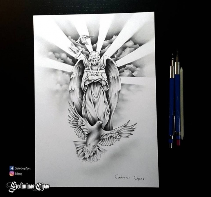Stunning Religious Pencil Drawings Easy Tattoo Sketch, Religious Tattoo, Angel Drawing, God Bird, Religious Pic