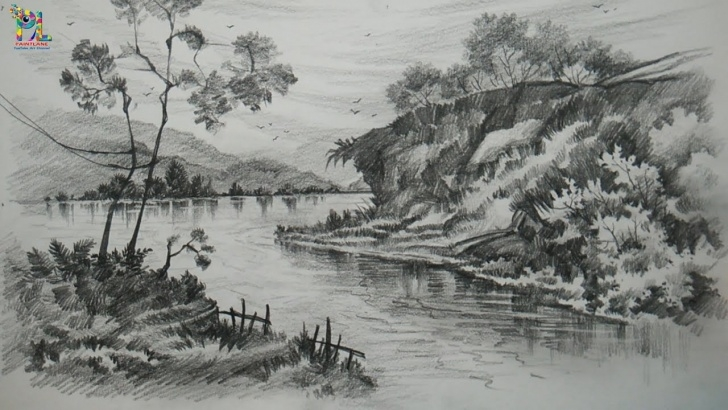 Stunning River Pencil Drawing Ideas Pencil Sketch Of River And Learn Drawing And Shading A Landscape Art Picture