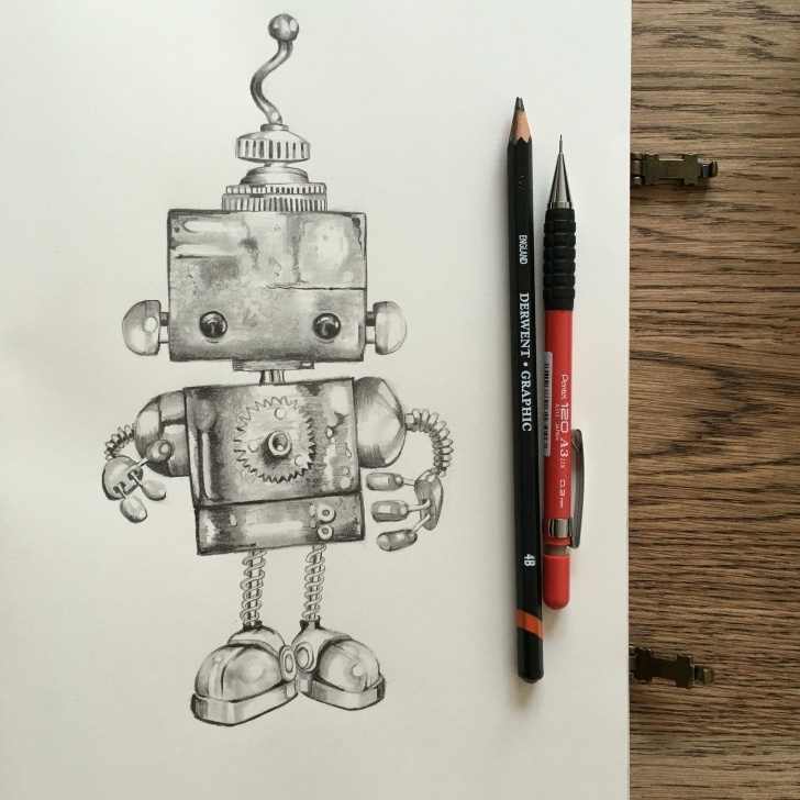 Stunning Robot Pencil Drawing Courses Cute Robot, Graphite Pencil Drawing | Art Class In 2019 | Pencil Image