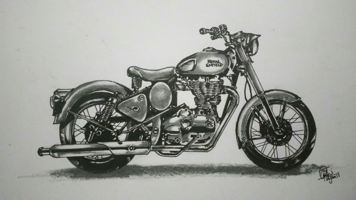 Royal Enfield Pencil Sketch
