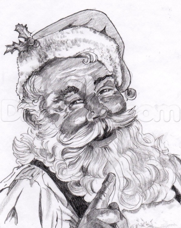 Stunning Santa Claus Pencil Drawing Step by Step How To Draw A Realistic Santa, Santa Claus Step 23 … | Santa Pics