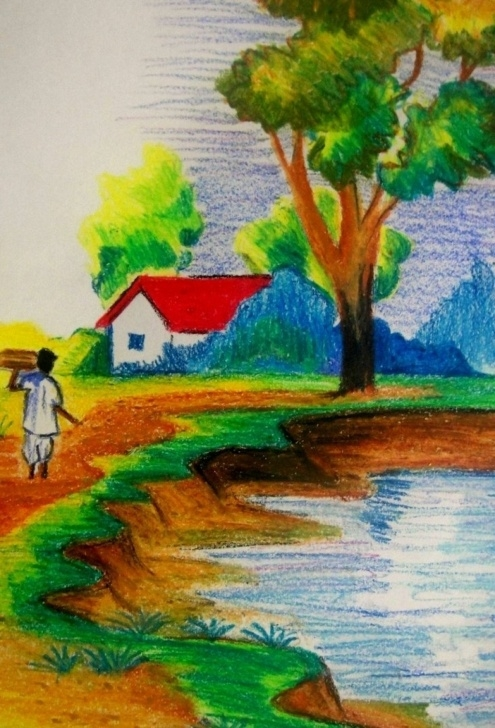 Stunning Scenery Colour Pencil Drawing Simple Drawing Pictures Of Nature With Colour At Paintingvalley Photo