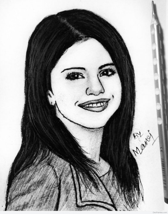 Stunning Selena Gomez Pencil Drawing Tutorials Beautiful Pencil Sketch Of Selena Gomez | Desipainters Pictures