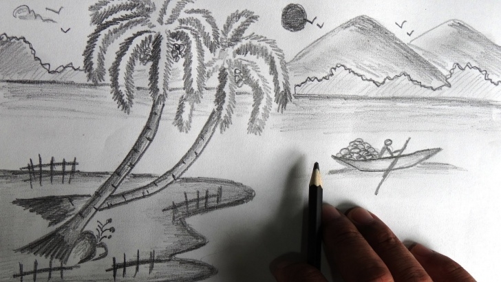 Stunning Simple Landscape Sketch Simple Landscape Sketch Paintings Search Result At Paintingvalley Images