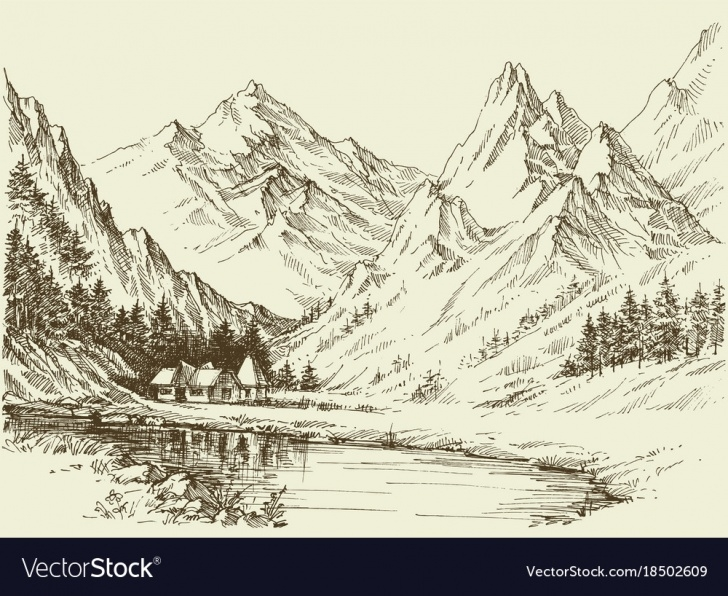 Stunning Sketch Landscape Techniques Mountain Landscape Sketch Small Alpine Resort Pic