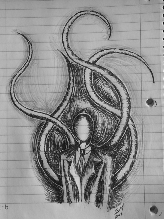 Stunning Slender Man Drawings In Pencil Ideas I Will Say Slenderman Looks Easy To Draw | Stuff | Scary Drawings Pictures