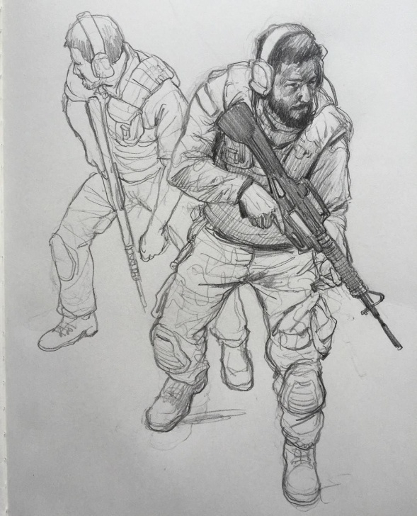 Stunning Soldier Pencil Drawing Techniques Repose Of The Soldiers Sketch. Saw A Little Mistake And Fixed It Pic