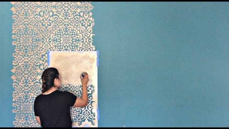Stunning Stencil Art Diy Techniques for Beginners How To Stencil A Diy Wallpaper Look For Less! Painting A Feature Wall With  Pattern For Cheap! Pics
