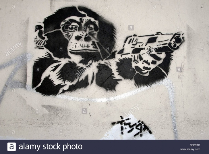Stunning Stencil Graffiti Artists Easy Atmosphere A Wall In East London, Dubbed With Stencil Graffiti Art Picture