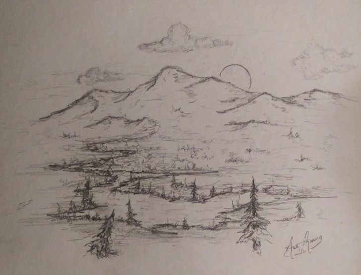 "Stunning Sunset Pencil Sketch Easy Colorado Sunset"", 8""x10"", Pencil Sketch (Oc) : Drawing Pics"