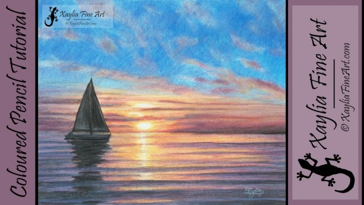 """Stunning Sunset With Colored Pencils for Beginners Tutorial: How To Draw An Ocean Sunset In Coloured Pencils """"call Of The Sea"""" Picture"""