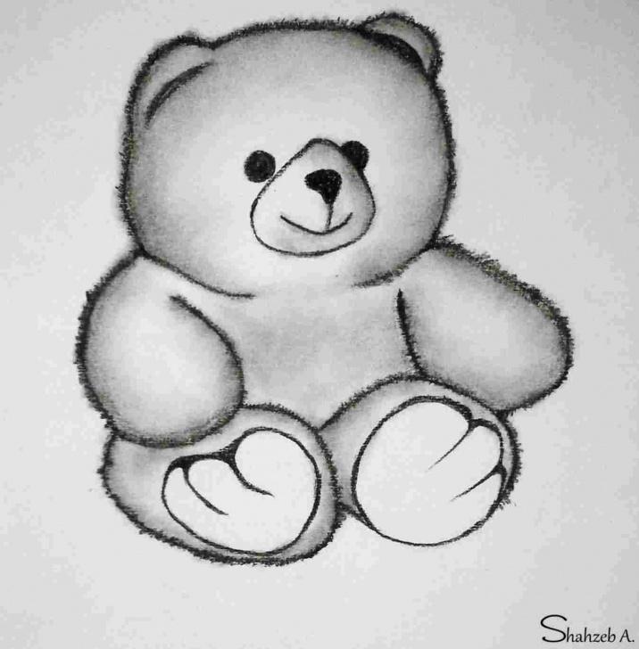 Stunning Teddy Bear Pencil Sketch Techniques Cute Teddy Bear Pencil Drawing | Drawing Work Photo