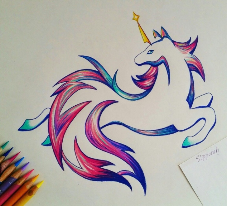 Stunning Unicorn Pencil Drawing for Beginners Unicorn Drawing, Unicorn Illustration, Illustrative Art, Colored Images