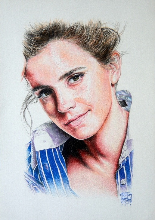 Stunning Watercolor Pencil Portrait Step by Step Emma Watson's Portrait - Watercolor Pencil On Behance Picture