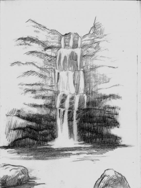 Stunning Waterfall Pencil Sketch Simple Sketch, Waterfall, Draw | Tattoo In 2019 | Drawings, Landscape Pics
