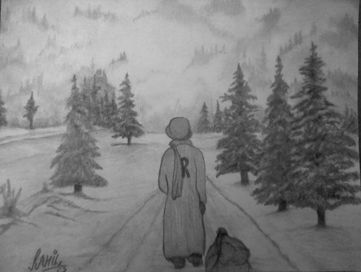 Stunning Winter Pencil Drawings Easy Pencil Sketch Of Winter Season | Desipainters Pic