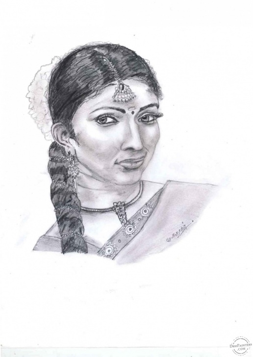 Stunning Women Pencil Art Simple Tamil Women Pencil Sketch | Desipainters Picture
