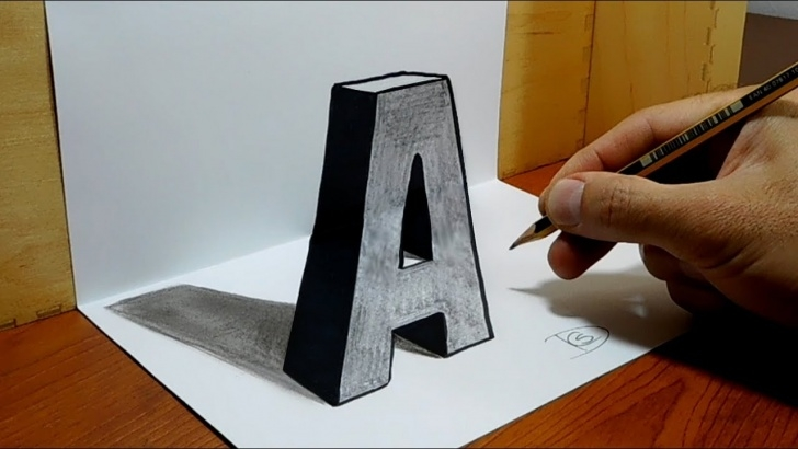 "The Best 3D Art On Paper With Pencil Ideas 3D Trick Art On Paper, Letter ""a"" With Graphite Pencil Pictures"