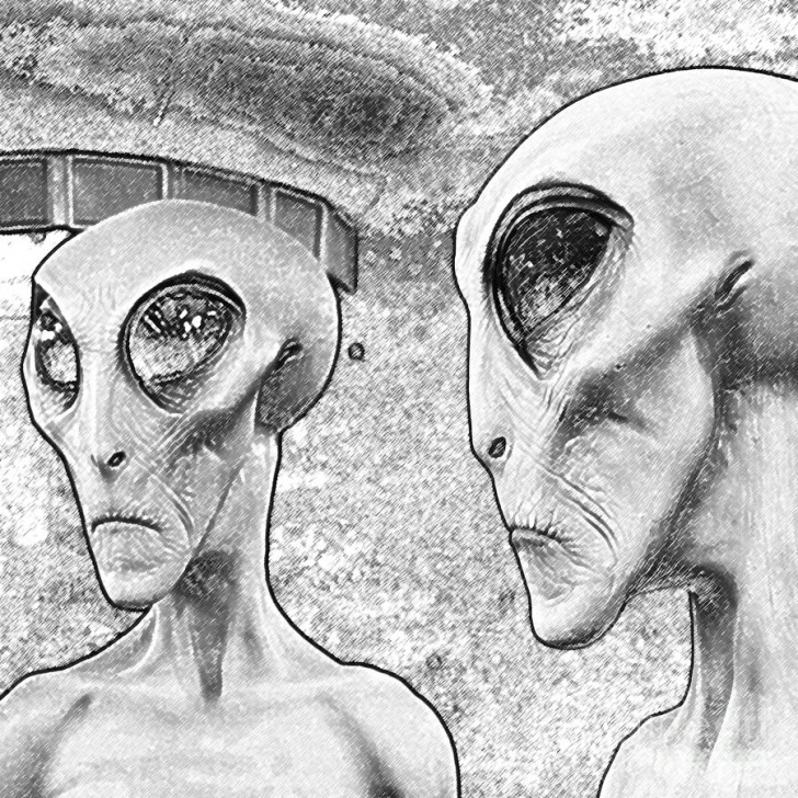The Best Alien Pencil Drawing Tutorial Two Grey Aliens Science Fiction Square Format Black And White Colored  Pencil Digital Art By Shawn O'brien Pic