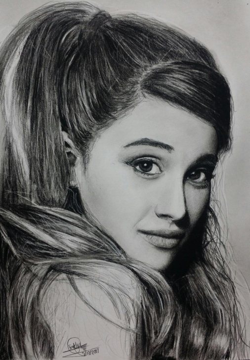 The Best Ariana Grande Pencil Sketch Step by Step Ariana Grande, Charcoal And Graphite, 5In X 7In : Art Pictures
