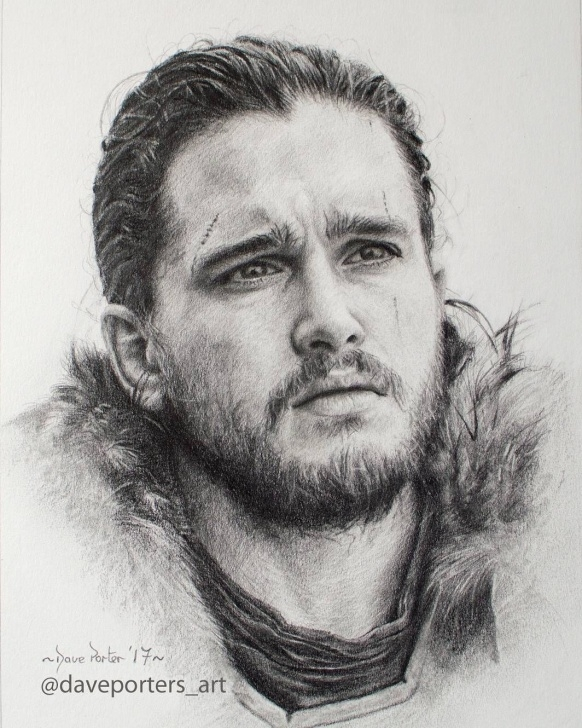 The Best Black Pencil Drawing for Beginners Black And Grey Pencil Drawing Of Jon Snow (Kit Harington ) From Game Pictures