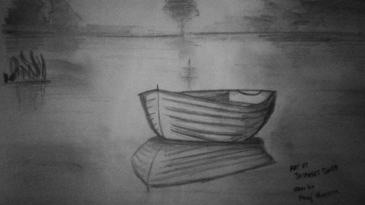 The Best Boat Pencil Sketch Techniques for Beginners How To Draw Boat Scenery Very Easily | Pencil Art | Artist Munda Pics