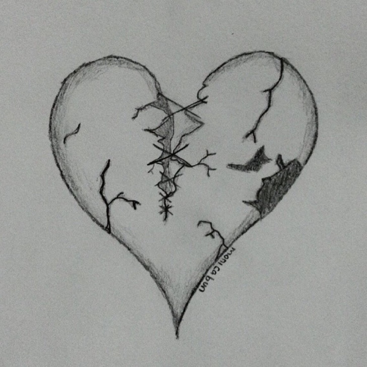 The Best Broken Heart Drawings In Pencil Courses Just A Broken Hearted #art #sketch #black #color #draw #book #pencil Picture