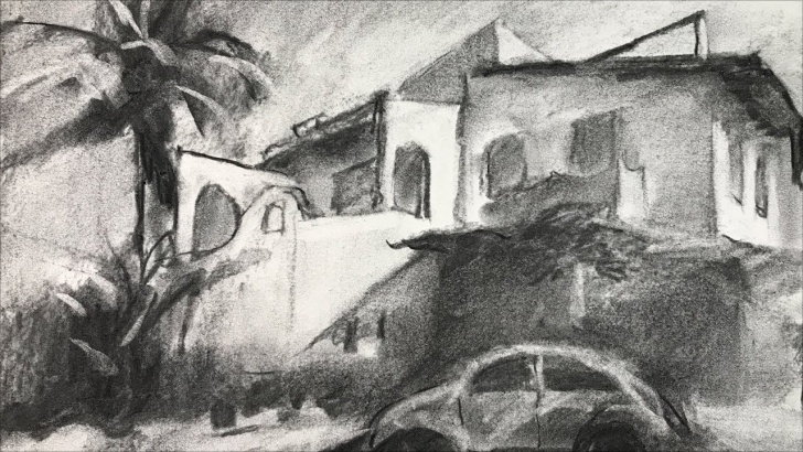 The Best Charcoal Landscape Sketches Step by Step Landscape #12 - Landscape Drawing Of House And Car With Charcoal Pic