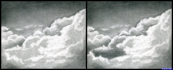 The Best Cloud Pencil Drawing Lessons How To Draw Realistic Clouds, Draw Clouds Step 9 | Art Techniques In Pic