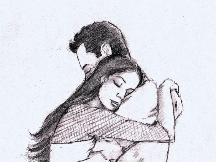 The Best Couple Sketch Drawing Step by Step Love-Hug-Couple-Pencil-Sketch-Drawing-Taazatadka - Taazatadka Image