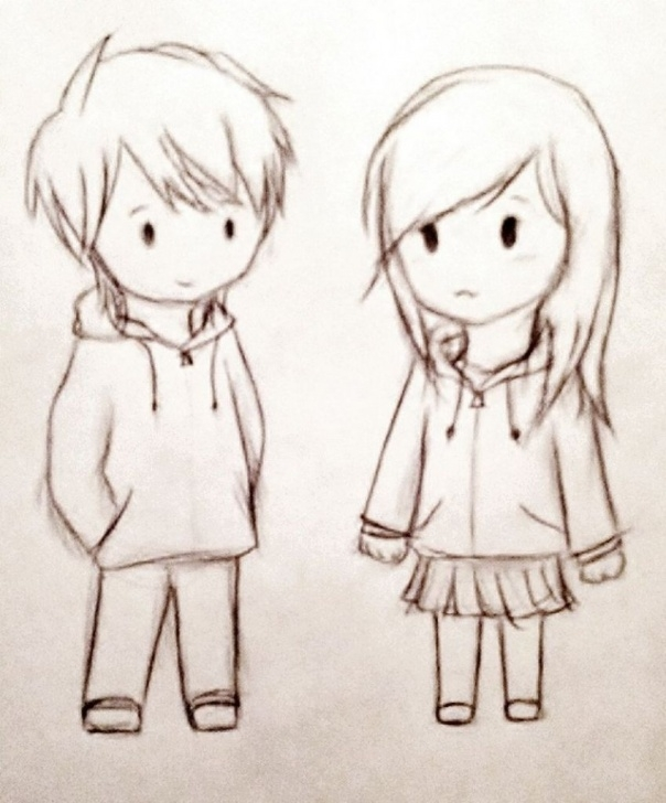 Cute Cartoon Couple Sketches