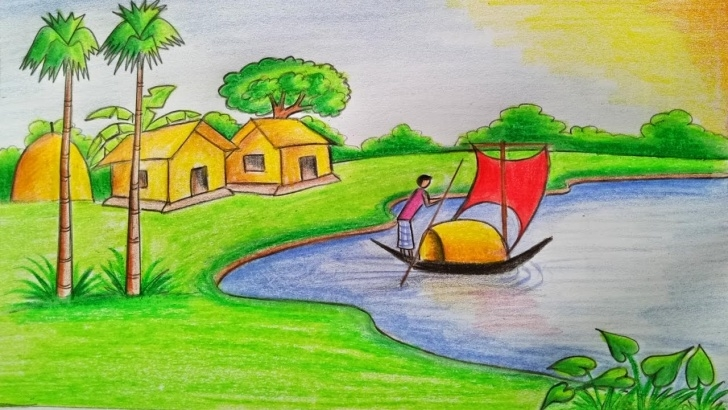 The Best Drawing Images Village Step by Step How To Draw A Village Scenery Step By Step (Very Easy) Pictures