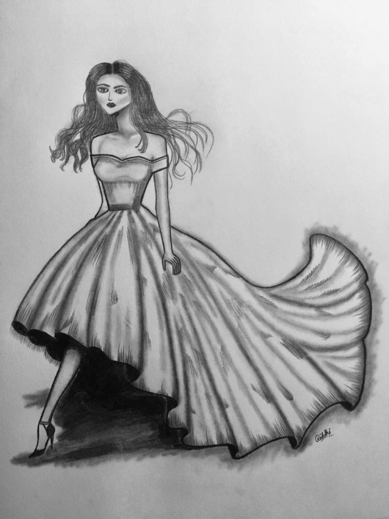 The Best Dress Pencil Drawing Techniques for Beginners Fashion Art Custom Dress Pencil Sketch Art 11 X 14 Can Be Easily Framed Image