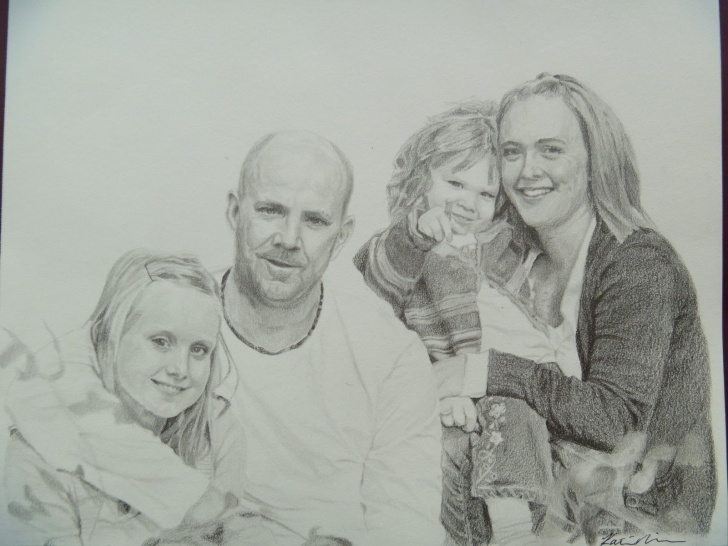 The Best Family Pencil Drawing Step by Step Art By Katie Nielsen: Pencil Drawing - Family Portrait Image