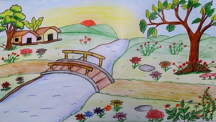 The Best Garden Pencil Drawing Lessons How To Draw Scenery Of A Flower Garden Step By Step - Youtube Pictures