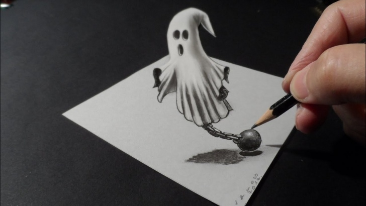 The Best Ghost Pencil Drawing Easy ?help, Ghost On The Table! - How To Draw 3D Ghost - 3D Trick Art Drawing -  Vamosart Pics