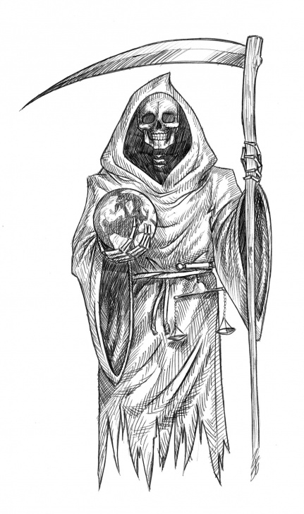 The Best Grim Reaper Drawings In Pencil Courses Grim Reaper Drawing, Pencil, Sketch, Colorful, Realistic Art Images Picture