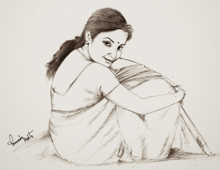 The Best Human Sketches With Pencil Simple Sketches And Drawings : Telugu Girl - Pencil Drawing | Belle In 2019 Picture