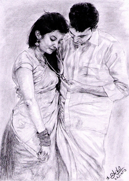 The Best Indian Pencil Drawing Tutorial Indian Traditional Couple - Pencil Drawing On Behance Photos