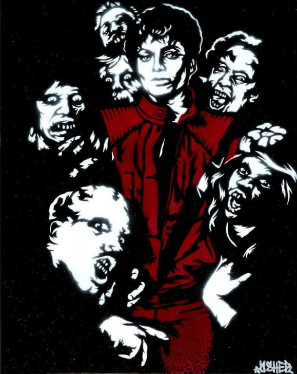 The Best Michael Jackson Stencil Art Techniques 8.5X11 Thriller (Michael Jackson) Stencil Art Print Photo