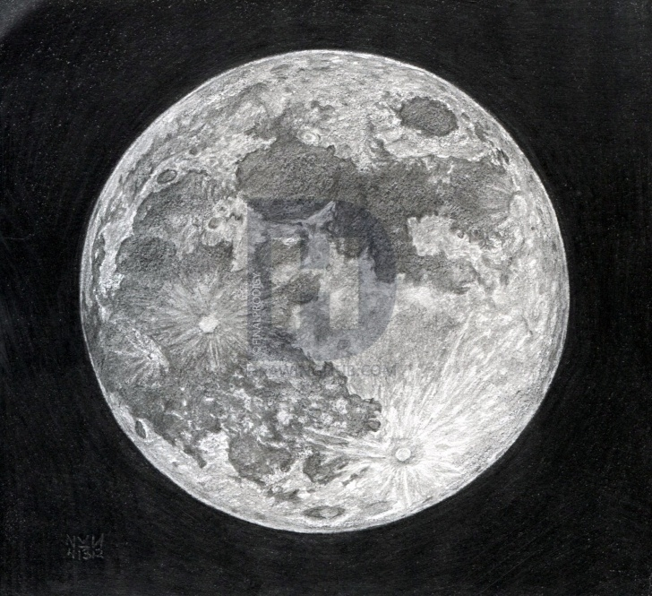 Moon Pencil Drawing