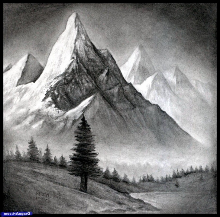 The Best Mountain Pencil Drawing Tutorial Mountain Pencil Sketch At Paintingvalley | Explore Collection Of Photos