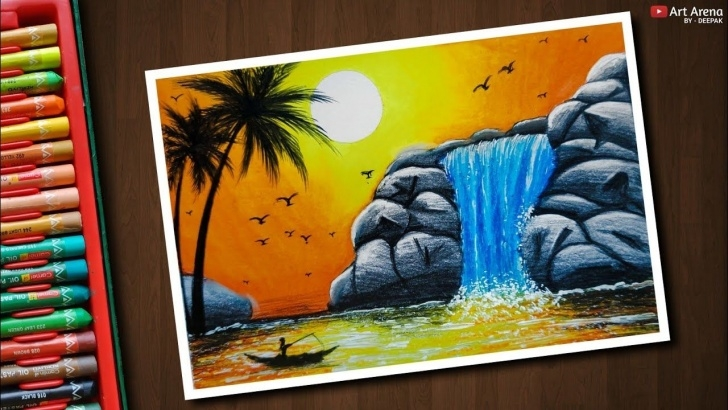 The Best Oil Pencil Drawing Courses Waterfall Drawing With Oil Pastels - Step By Step   How To What To Pictures