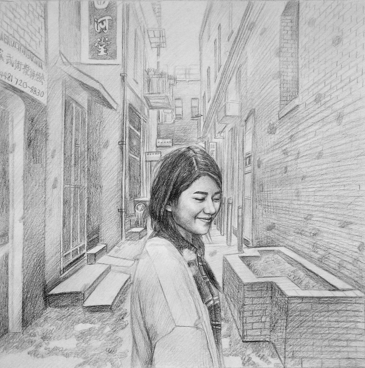 The Best Pencil Drawing Painting for Beginners Custom Hand-Drawn Girl In Chinatown Pencil Drawing - Instapainting Pics