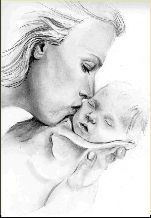 The Best Pencil Drawings Of Mother And Baby Step by Step Mother With Baby Drawing | Drawing Work Images