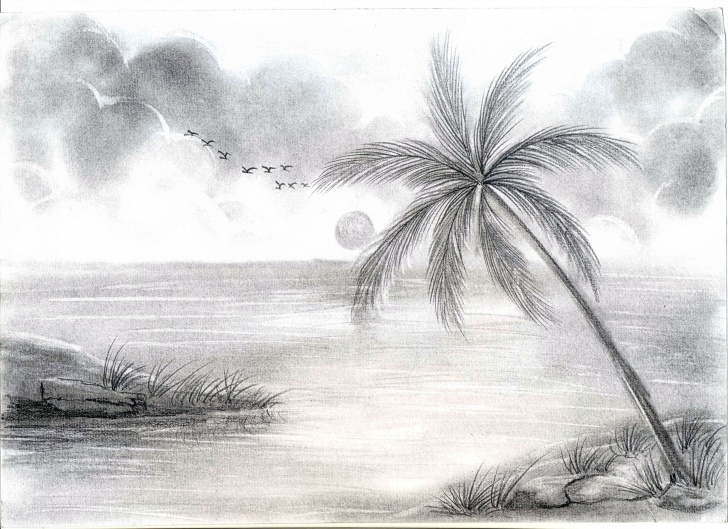 The Best Pencil Shading Of Nature Tutorial Drawing Of Nature With Boat By Pencil Shading Drawing Scenery Images