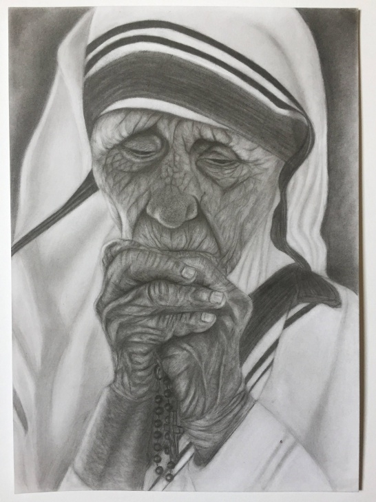 The Best Religious Pencil Drawings Free Mother Teresa Praying, Original Pencil Drawing | Things To Draw Pictures