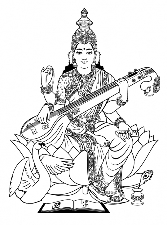 The Best Saraswati Pencil Sketch Tutorial Saraswati Pencil Sketch And Coloring-Adult-India-Saraswati-, From Pic