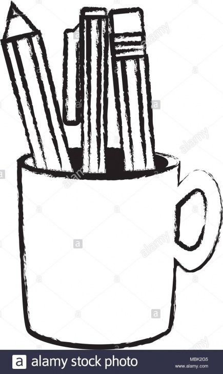 The Best Sketch Of Pencil Courses Sketch Of Pencil Holder With Writing Tools Icon Over White Photos